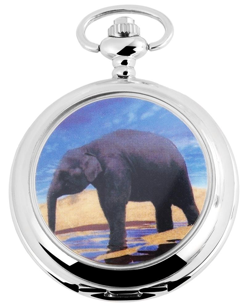 taschenuhr wei silber elefant analog quarz metall arabisch d 480722000016350 ebay. Black Bedroom Furniture Sets. Home Design Ideas